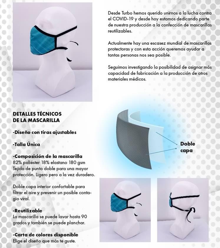 Información Mascarilla rehutilizable Turbo