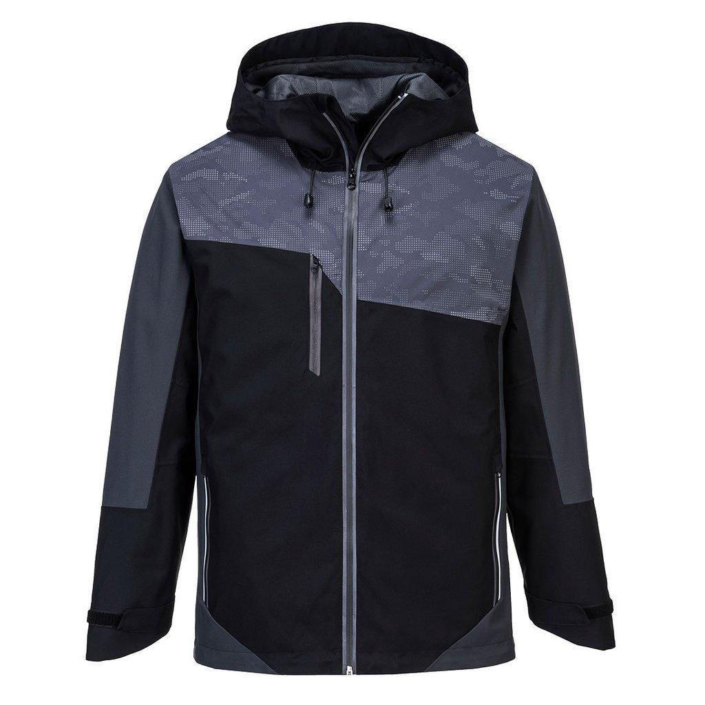 Chaqueta reflectante con capucha en tonos negro y gris