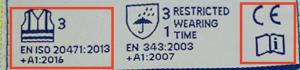 Etiqueta con marcado para la ropa de alta visibilidad que cumple la normativa